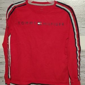 Med Boys Red Tommy Hilfiger Long Sleeve Tee Shirt